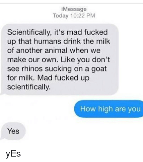 How High, Memes, and Goat: iMessage  Today 10:22 PM  Scientifically, it's mad fucked  up that humans drink the milk  of another animal when we  make our own. Like you don't  see rhinos sucking on a goat  for milk. Mad fucked up  scientifically.  How high are you  Yes yEs