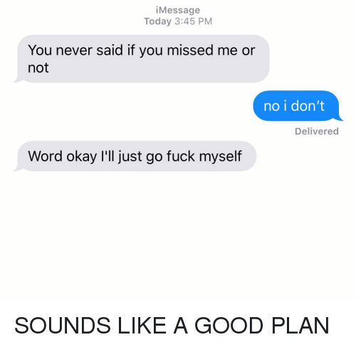 """Good Plan: iMessage  Today 3:45 PM  You never said if you missed me or  not  no i don'""""t  Delivered  Word okay I'll just go fuck myself SOUNDS LIKE A GOOD PLAN"""