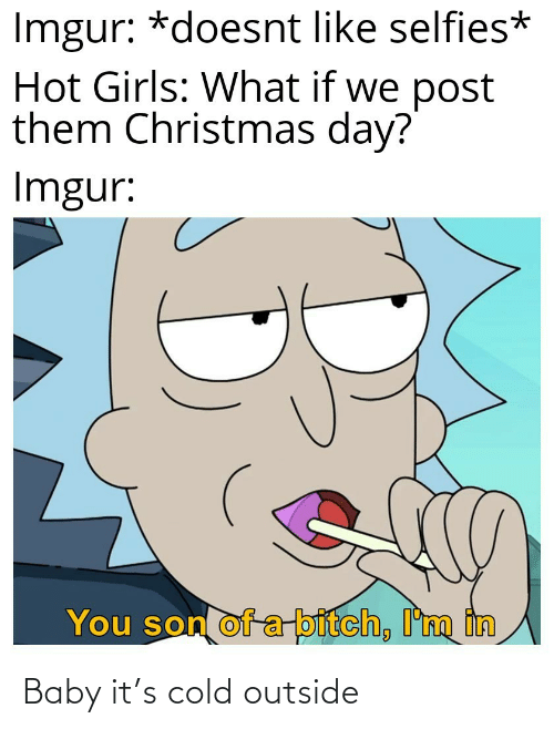 son of a bitch: Imgur: *doesnt like selfies*  Hot Girls: What if we post  them Christmas day?  Imgur:  You son of a-bitch, I'm in Baby it's cold outside