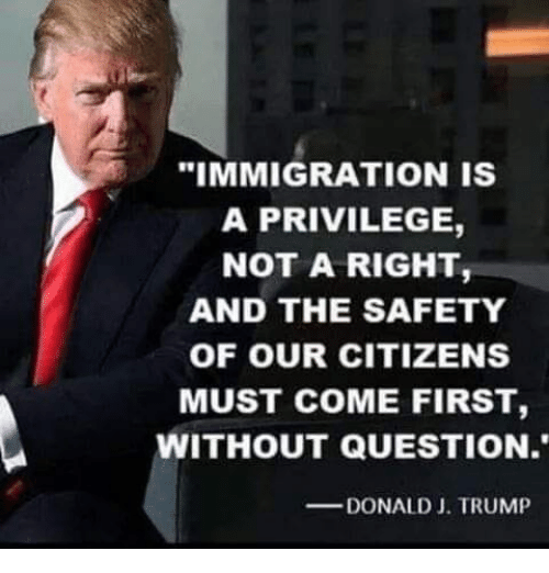 """Memes, Immigration, and Trump: """"IMMIGRATION IS  A PRIVILEGE,  NOT A RIGHT,  AND THE SAFETY  OF OUR CITIZENS  MUST COME FIRST,  WITHOUT QUESTION.  DONALD J. TRUMP"""