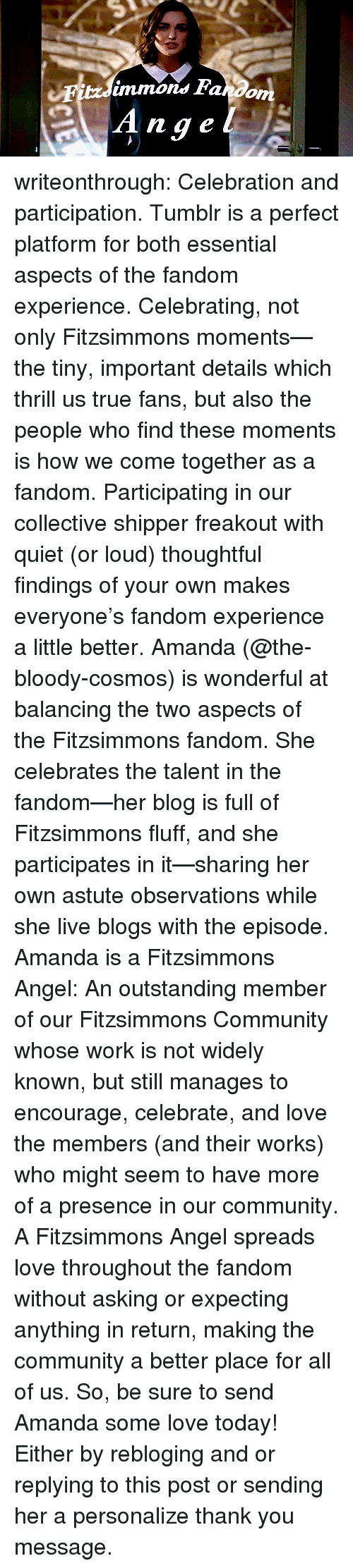 Shipper: immons Fando  nge writeonthrough: Celebration and participation. Tumblr is a perfect platform for both essential aspects of the fandom experience. Celebrating, not only Fitzsimmons moments—the tiny, important details which thrill us true fans, but also the people who find these moments is how we come together as a fandom. Participating in our collective shipper freakout with quiet (or loud) thoughtful findings of your own makes everyone's fandom experience a little better. Amanda (@the-bloody-cosmos) is wonderful at balancing the two aspects of the Fitzsimmons fandom. She celebrates the talent in the fandom—her blog is full of Fitzsimmons fluff, and she participates in it—sharing her own astute observations while she live blogs with the episode. Amanda is a Fitzsimmons Angel: An outstanding member of our Fitzsimmons Community whose work is not widely known, but still manages to encourage, celebrate, and love the members (and their works) who might seem to have more of a presence in our community. A Fitzsimmons Angel spreads love throughout the fandom without asking or expecting anything in return, making the community a better place for all of us. So, be sure to send Amanda some love today! Either by rebloging and or replying to this post or sending her a personalize thank you message.