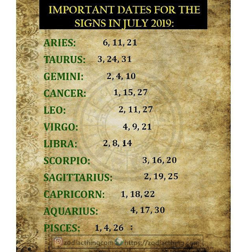 Capricorn: IMPORTANT DATES FOR THE  SIGNS IN JULY 2019:  ARIES:  6, 11, 21  TAURUS:  3, 24, 31  GEMINI:  2, 4, 10  1, 15, 27  CANCER:  LEO:  2, 11, 27  VIRGO:  4, 9, 21  LIBRA:  2, 8, 14  SCORPIO:  3, 16, 20  SAGITTARIUS:  2, 19, 25  CAPRICORN:  1, 18, 22  AQUARIUS:  4, 17, 30  PISCES:  1, 4, 26  zodiacthingcom https//zodacthitg.com