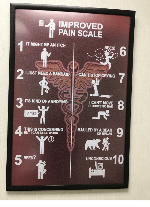bandaid: IMPROVED  PAIN SCALE  IT MIGHT BE AN ITCH  6  M.  IJUST NEED A BANDAID CAN'T STOP CRYING  3  ITS KIND OF ANNOYING  I CAN'T MOVE  IT HURTS SO BAD  4  THIS IS CONCERNING  BUT I CAN STILL WORK  MAULED BY A BEAR  OR NINJAS  UNCONSCIOUS! 0  BEES?