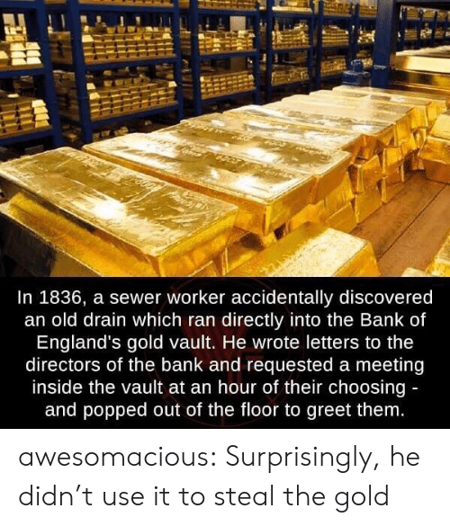 sewer: In 1836, a sewer worker accidentally discovered  an old drain which ran directly into the Bank of  England's gold vault. He wrote letters to the  directors of the bank and requested a meeting  inside the vault at an hour of their choosing  and popped out of the floor to greet them awesomacious:  Surprisingly, he didn't use it to steal the gold