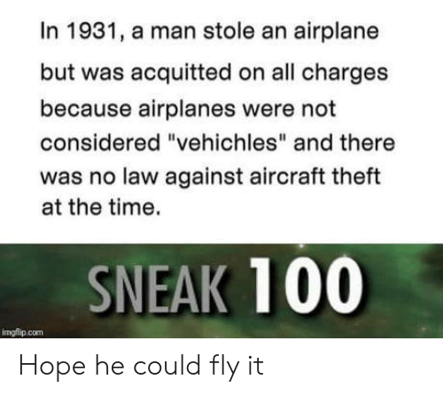 """Theft: In 1931, a man stole an airplane  but was acquitted on all charges  because airplanes were not  considered """"vehichles"""" and there  was no law against aircraft theft  at the time.  SNEAK 100  imgflip.com Hope he could fly it"""