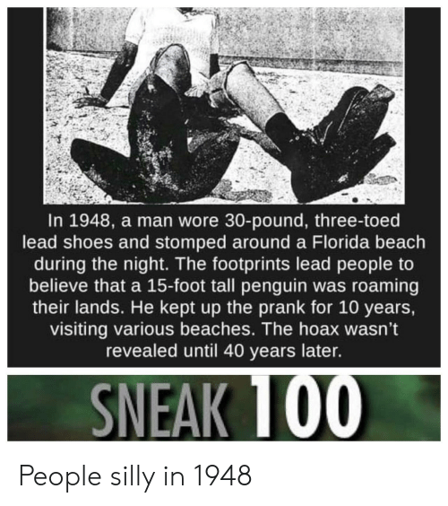 beaches: In 1948, a man wore 30-pound, three-toed  lead shoes and stomped around a Florida beach  during the night. The footprints lead people to  believe that a 15-foot tall penguin was roaming  their lands. He kept up the prank for 10 years,  visiting various beaches. The hoax wasn't  revealed until 40 years later. People silly in 1948