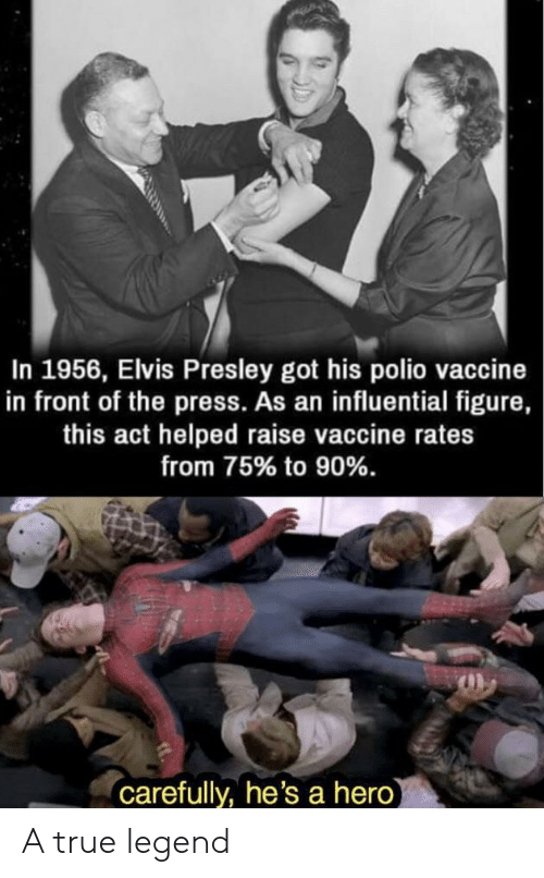 True, Elvis Presley, and Got: In 1956, Elvis Presley got his polio vaccine  in front of the press. As an influential figure,  this act helped raise vaccine rates  from 75% to 90%.  carefully, he's a hero A true legend