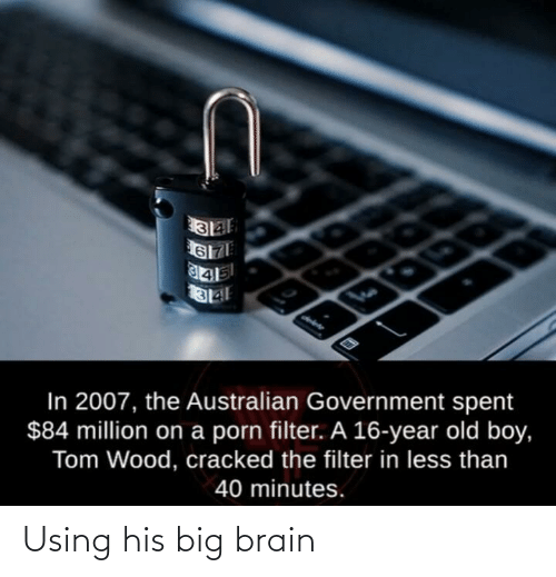 Government: In 2007, the Australian Government spent  $84 million on a porn filter. A 16-year old boy,  Tom Wood, cracked the filter in less than  40 minutes. Using his big brain