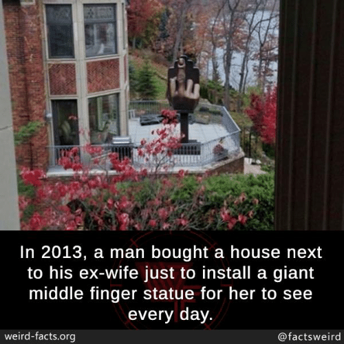 middle finger: In 2013, a man bought a house next  to his ex-wife just to install a giant  middle finger statue for her to see  every day  weird-facts.org  @factsweird