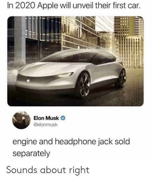 separately: In 2020 Apple will unveil their first car.  Elon Musk  @elonmusk  engine and headphone jack sold  separately Sounds about right