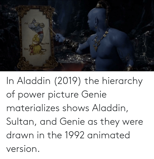 Animated: In Aladdin (2019) the hierarchy of power picture Genie materializes shows Aladdin, Sultan, and Genie as they were drawn in the 1992 animated version.