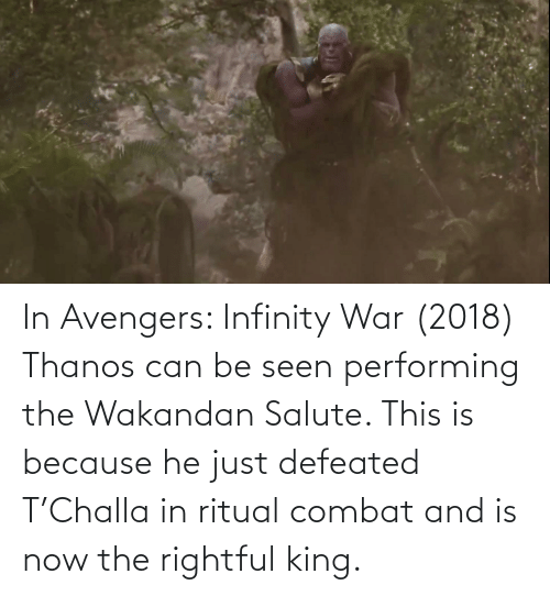 Salute: In Avengers: Infinity War (2018) Thanos can be seen performing the Wakandan Salute. This is because he just defeated T'Challa in ritual combat and is now the rightful king.