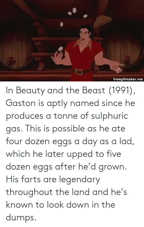 Beauty and the Beast: In Beauty and the Beast (1991), Gaston is aptly named since he produces a tonne of sulphuric gas. This is possible as he ate four dozen eggs a day as a lad, which he later upped to five dozen eggs after he'd grown. His farts are legendary throughout the land and he's known to look down in the dumps.