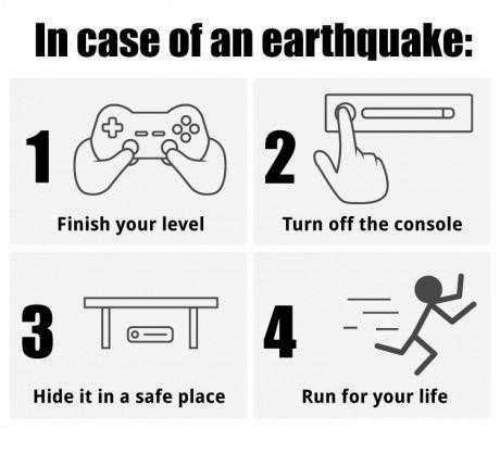 run for your life: In case of an earthquake:  Finish your level  Turn off the console  Hide it in a safe place  Run for your life