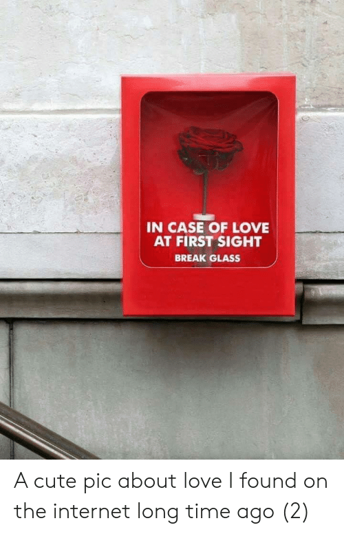 Long Time Ago: IN CASE OF LOVE  AT FIRST SIGHT  BREAK GLASS A cute pic about love I found on the internet long time ago (2)