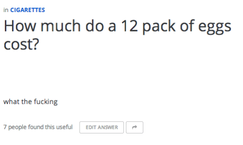 pack: in CIGARETTES  How much do a 12 pack of eggs  cost?  what the fucking  7 people found this useful  EDIT ANSWER