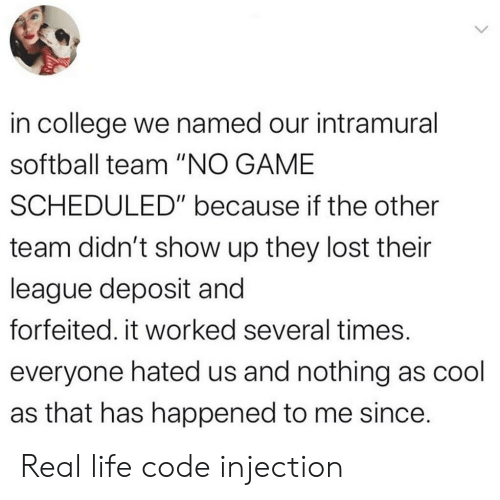 "College, Life, and Lost: in college we named our intramural  softball team ""NO GAME  SCHEDULED"" because if the other  team didn't show up they lost their  league deposit and  forfeited. it worked several times.  everyone hated us and nothing as cool  as that has happened to me since. Real life code injection"