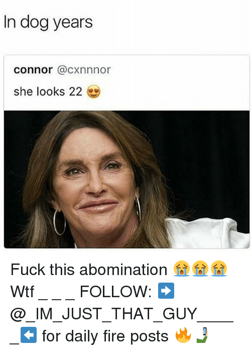 dog years: In dog years  connor @cxnnnor  she looks 22 Fuck this abomination 😭😭😭 Wtf _ _ _ FOLLOW: ➡@_IM_JUST_THAT_GUY_____⬅ for daily fire posts 🔥🤳🏼
