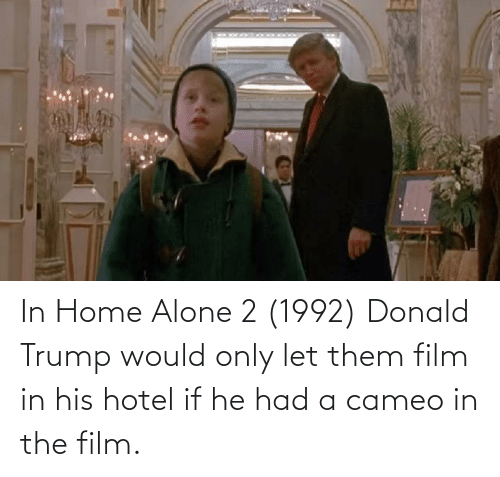Donald Trump: In Home Alone 2 (1992) Donald Trump would only let them film in his hotel if he had a cameo in the film.