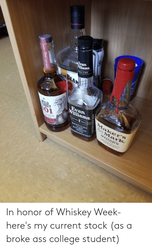 College Student: In honor of Whiskey Week- here's my current stock (as a broke ass college student)