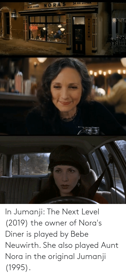 nora: In Jumanji: The Next Level (2019) the owner of Nora's Diner is played by Bebe Neuwirth. She also played Aunt Nora in the original Jumanji (1995).