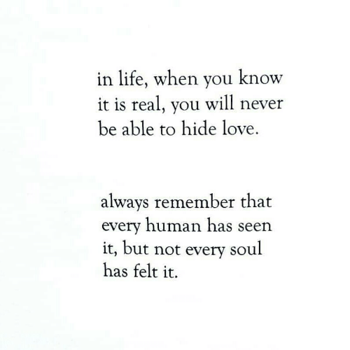 Life, Love, and Never: in life, when you know  it is real, you will never  be able to hide love  always remember that  every human has seen  it, but not every soul  has felt it