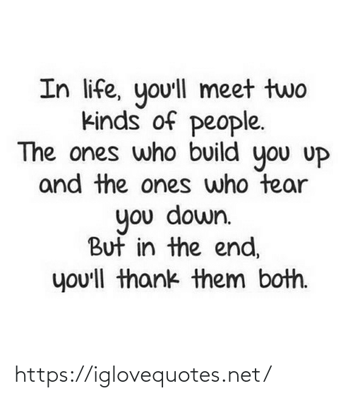 in the end: In life, yo'll meet two  kinds of people.  The ones who build you uP  and the ones who tear  you down.  But in the end,  you'll thank them both. https://iglovequotes.net/