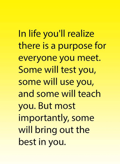 Life, Memes, and Best: In life you'll realize  there is a purpose for  everyone you meet.  Some will test you,  some will use you,  and some will teach  you. But most  importantly, some  will bring out the  best in you.