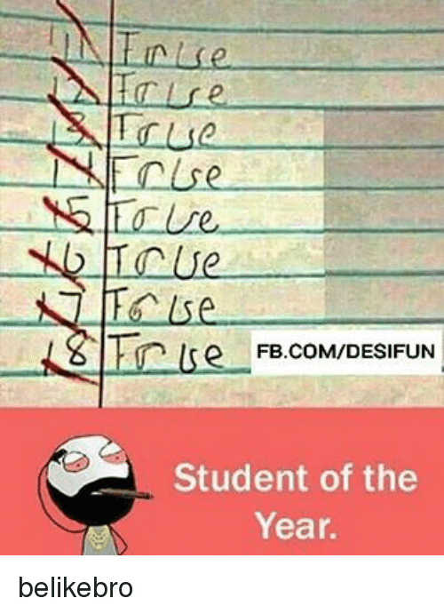student of the year: -IN linl se  re  True  NIEn/se  NG / /e.  Tcue  hese  siTinlse  FB.COM/DESIFUN  tn lre-F  Student of the  Year. belikebro