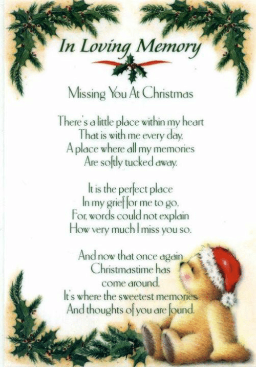 Thoughtful Of You: In Loving Memory  Missing You At Christmas  There S a little place within my heart  That is with me every day  A place where all my memories  Are softly tucked away.  It is the perect place  In my grief for me to go.  For words could not explain  How very much miss you so.  And now that once again  Christmastime has  come around.  It S where the sweetest  memories  And thoughts of you are found