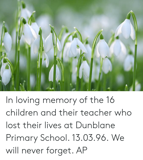 Children, Memes, and School: In loving memory of the 16 children and their teacher who lost their lives at Dunblane Primary School. 13.03.96.  We will never forget.   AP