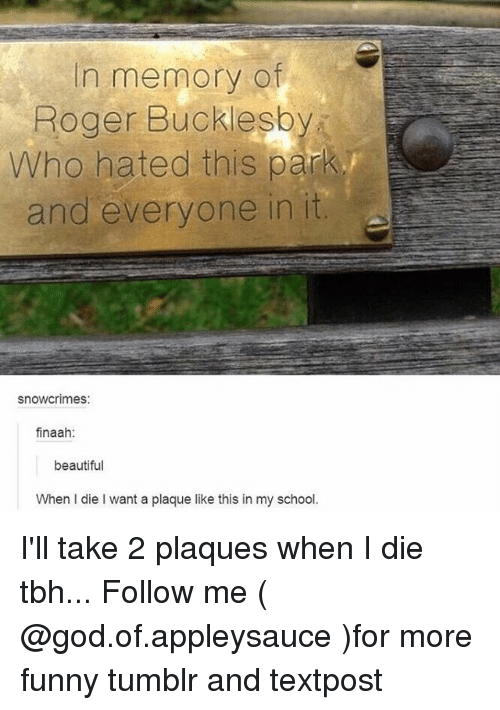 Rogered: In memory of  Roger Bucklesb  Who hated this park  and everyone in it  snowcrimes:  finaah  beautiful  When I die I want a plaque like this in my school. I'll take 2 plaques when I die tbh... Follow me ( @god.of.appleysauce )for more funny tumblr and textpost