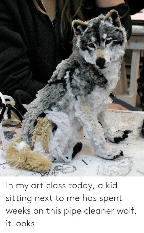 My Art: In my art class today, a kid sitting next to me has spent weeks on this pipe cleaner wolf, it looks