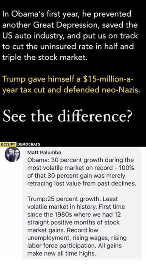 Anaconda, Memes, and Obama: In Obama's first year, he prevented  another Great Depression, saved the  US auto industry, and put us on track  to cut the uninsured rate in half and  triple the stock market.  Trump gave himself a $15-million-a-  year tax cut and defended neo-Nazis.  See the difference?  OCCUPY DEMOCRAT  Matt Palumbo  Obama: 30 percent growth during the  most volatile market on record-100%  of that 30 percent gain was merely  retracing lost value from past declines.  Trump:25 percent growth. Least  volatile market in history. First time  since the 1980s where we had 12  straight positive months of stock  market gains. Record low  unemployment, rising wages, rising  labor force participation. All gains  make new all time highs