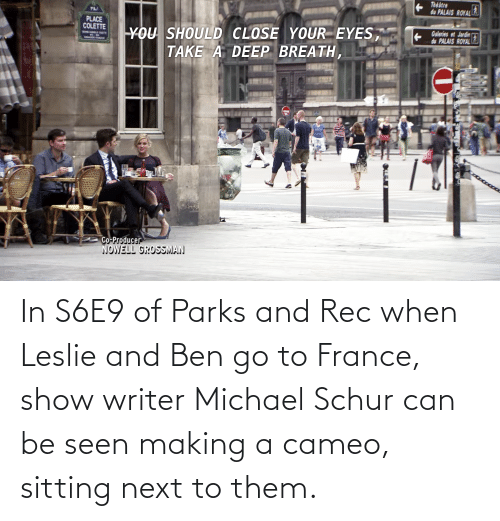 Leslie: In S6E9 of Parks and Rec when Leslie and Ben go to France, show writer Michael Schur can be seen making a cameo, sitting next to them.