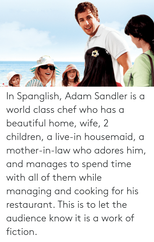 Adam Sandler: In Spanglish, Adam Sandler is a world class chef who has a beautiful home, wife, 2 children, a live-in housemaid, a mother-in-law who adores him, and manages to spend time with all of them while managing and cooking for his restaurant. This is to let the audience know it is a work of fiction.