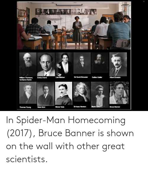 Shown: In Spider-Man Homecoming (2017), Bruce Banner is shown on the wall with other great scientists.