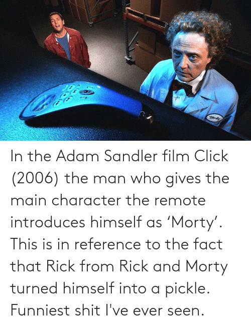 Adam Sandler: In the Adam Sandler film Click (2006) the man who gives the main character the remote introduces himself as 'Morty'. This is in reference to the fact that Rick from Rick and Morty turned himself into a pickle. Funniest shit I've ever seen.