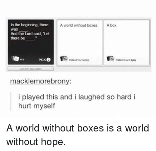 """hurt myself: In the beginning, there  was  And the Lord said, """"Let  there be  A world without boxes  A box  Confion Seledion  macklemorebrony  i played this and i laughed so hard i  hurt myself A world without boxes is a world without hope."""