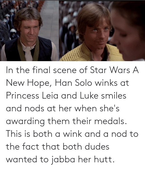 Final Scene: In the final scene of Star Wars A New Hope, Han Solo winks at Princess Leia and Luke smiles and nods at her when she's awarding them their medals. This is both a wink and a nod to the fact that both dudes wanted to jabba her hutt.
