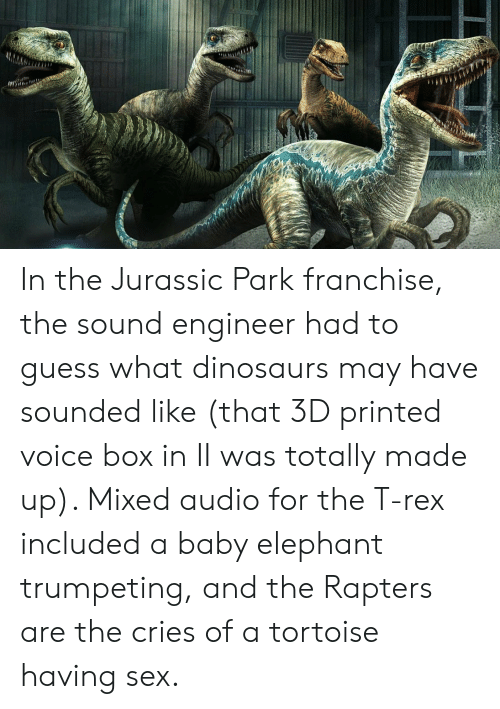 Jurassic Park, Sex, and Dinosaurs: In the Jurassic Park franchise, the sound engineer had to guess what dinosaurs may have sounded like (that 3D printed voice box in II was totally made up). Mixed audio for the T-rex included a baby elephant trumpeting, and the Rapters are the cries of a tortoise having sex.