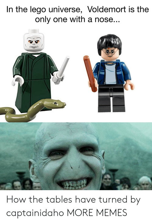 The Tables Have Turned: In the lego universe, Voldemort is the  only one with a nose How the tables have turned by captainidaho MORE MEMES