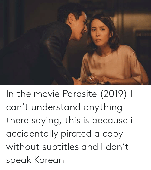 understand: In the movie Parasite (2019) I can't understand anything there saying, this is because i accidentally pirated a copy without subtitles and I don't speak Korean