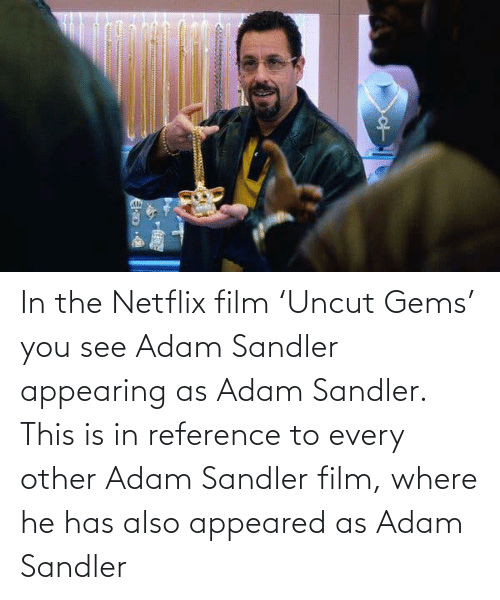 Adam Sandler: In the Netflix film 'Uncut Gems' you see Adam Sandler appearing as Adam Sandler. This is in reference to every other Adam Sandler film, where he has also appeared as Adam Sandler