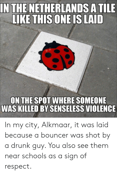 drunk guy: IN THE NETHERLANDS A TILE  LIKE THISONE IS LAID  ON THE SPOT WHERE SOMEONE  WAS KILLED BY SENSELESS VIOLENCE In my city, Alkmaar, it was laid because a bouncer was shot by a drunk guy. You also see them near schools as a sign of respect.