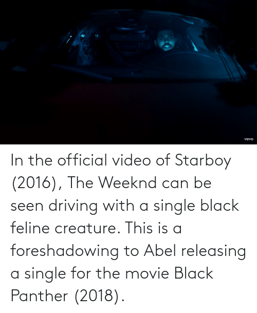 Black Panther: In the official video of Starboy (2016), The Weeknd can be seen driving with a single black feline creature. This is a foreshadowing to Abel releasing a single for the movie Black Panther (2018).