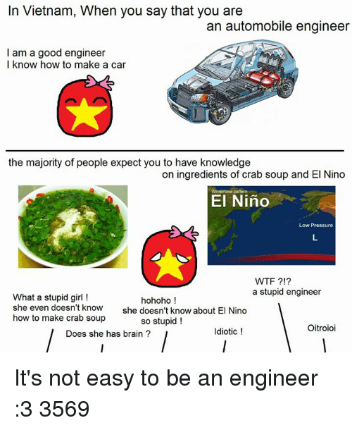 stupid girl: In Vietnam, When you say that you are  an automobile engineer  I am a good engineer  I know how to make a car  the majority of people expect you to have knowledge  on ingredients of crab soup and El Nino  El Nino  Low Pressure  WTF  a stupid engineer  What a stupid girl  hohoho  she even doesn't know  she doesn't know about El Nino  how to make crab soup  so stupid!  Oitroioi  Idiotic  Does she has brain It's not easy to be an engineer :3   3569