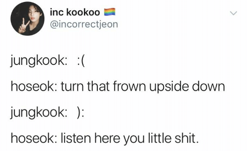 Shit, Down, and You: inc kookoo  @incorrectjeon  jungkook: (  hoseok: turn that frown upside down  jungkook: )  hoseok: listen here you little shit