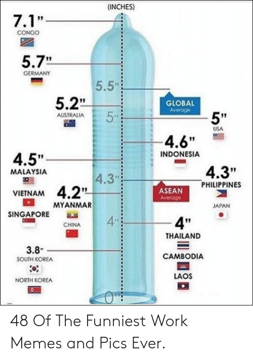 "4 6: (INCHES)  7.1'""  CONGO  5.7""  GERMANY  5.5  5.2  5  GLOBAL  Averoge  5""  AUSTRALIA  USA  -4.6""  INDONESIA  4.5""  4.3""  PHILIPPINES  MALAYSIA  4.3  4.2  MYANMAR  ASEAN  Averoge  VIETNAM  JAPAN  SINGAPORE  4  4P""  CHINA  THAILAND  3.8  CAMBODIA  SOUTH KOREA  LAOS  NORTH KOREA 48 Of The Funniest Work Memes and Pics Ever."