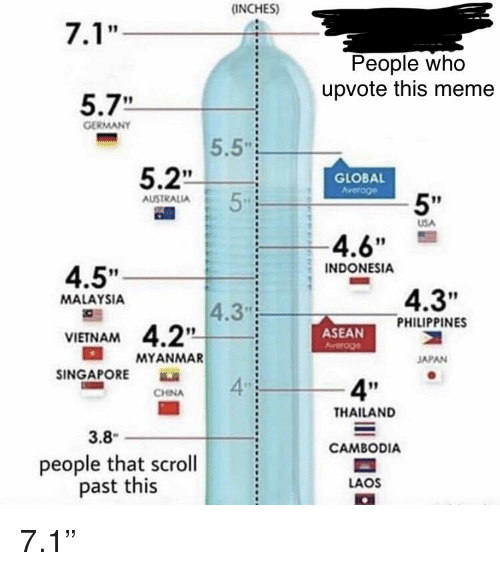 """Meme 5 7: (INCHES)  People who  upvote this meme  5.7""""  GERMANY  5.5""""  5.2  GLOBAL  5'  AUSTRALIA  USA  4.6""""  INDONESIA  4.5""""  4.3""""  MALAYSIA  4.3  PHILIPPINES  VIETNAM  ASEAN  MYANMAR  JAPAN  INGAPORE  4  4""""  CHINA  THAILAND  3.8  CAMBODIA  people that scroll  past this  LAOS"""